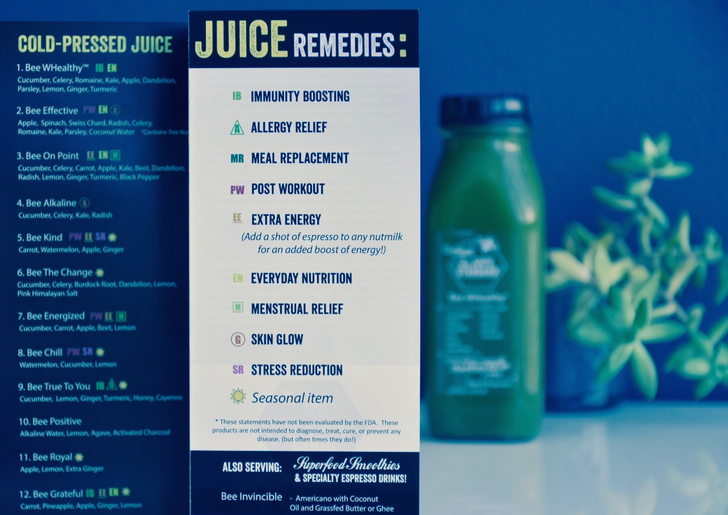Here's a snapshot of our new menu. We hope our thoughtful 'Juice Remedies' help lead you toward your very best selves, no matter how you feel.